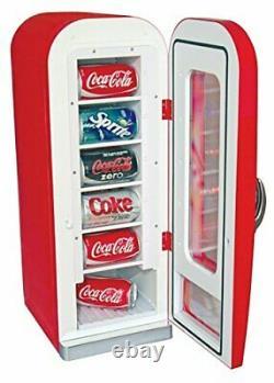 10 Can Mini Fridge/Cooler, 12VDC / 240V AC Coca-Cola Retro Vending Machine Style