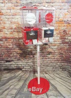 Coca Cola double gumball machines+ stand Coke memorabilia vintage candy machine