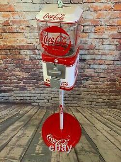 Coke Coca cola gumball machine glass Acorn penny machine with metal stand