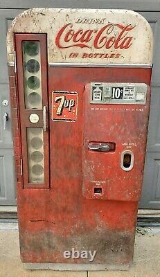 ORIGINAL 1957 Vendo 81 D COCA COLA 7-UP 10 cent SODA VENDING MACHINE Ice Cold