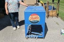 Original Vintage 1950's Pepsi Cola Soda Pop Cooler Metal Vending Machine Sign