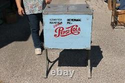 Rare Original Vintage 1956 Pepsi Cola Soda Pop Cooler Metal Vending Machine Sign