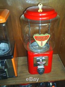 VINTAGE- 1950's Coca Cola THEMED Oak Candy / guumball Machine Glass globe NICE