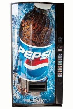 Vendo V-MAX Multi Price Soda Vending Machine with Pepsi Graphics Cans Bottles V570
