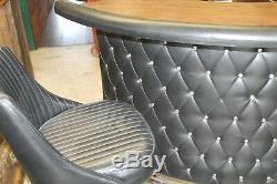 Vintage Mid Century Chromcraft Black Faux Leather & Chrome Dry Bar & 2 Stools